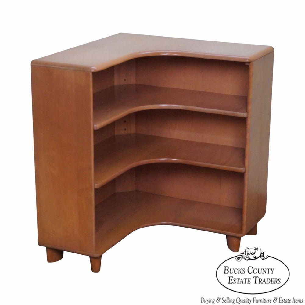 Heywood Wakefield Champagne Mid Century Modern Maple Corner Bookcase  #MidCenturyModern Design Inspirations