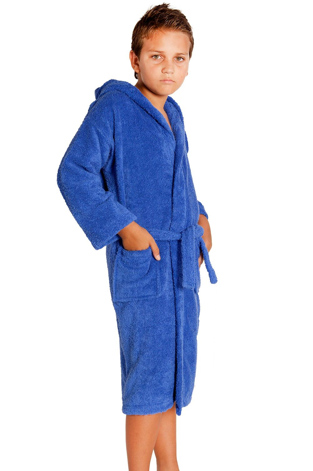2684187fbe Kids Bathrobes    Royal Blue Hooded Terry Kid s Bathrobe - Wholesale  bathrobes