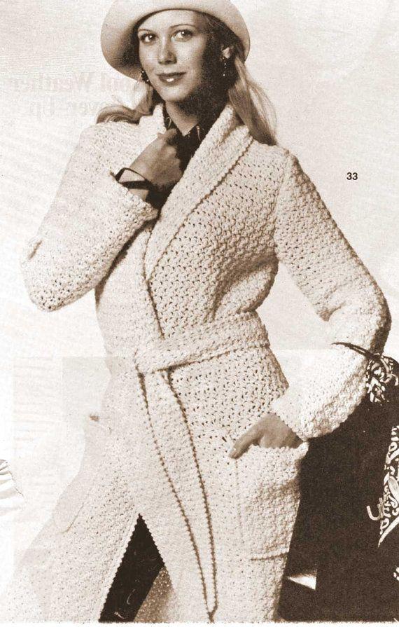 Vintage Crochet Pattern Long Sweater Coat Jacket Robe Shawl Wrap