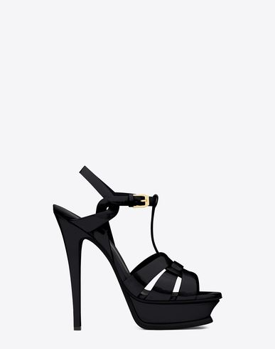 tribute sandals in patent leather in 2020  ysl heels