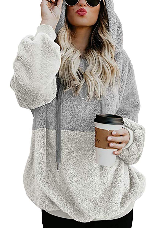 138f442031f3f3 Women Long Sleeve Zipper Sherpa Sweatshirt Soft Fleece Pullover Outwear Coat