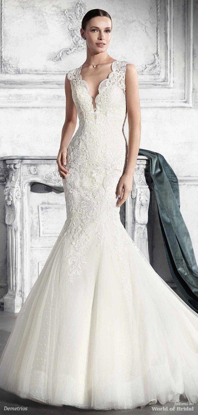 Demetrios wedding dresses swiss dot lace bodice and illusions