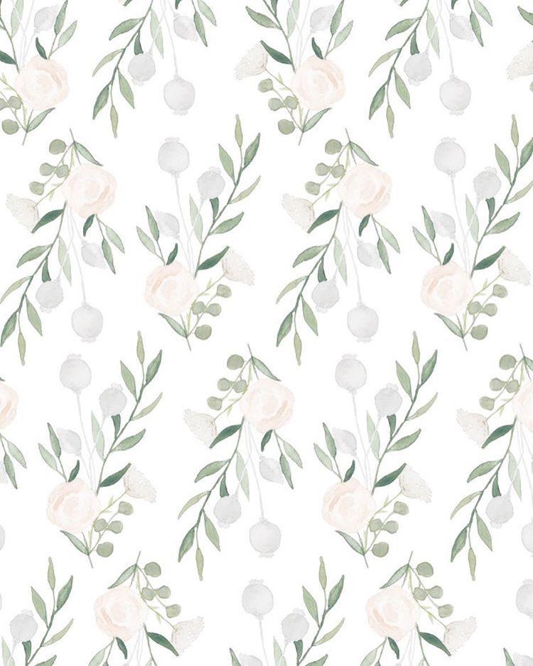 Watercolor Floral Pattern Sage Paper Co Www