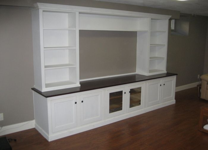 With Regular Cupboard Doors In The Middle And White Instead Of Black Counter Top Built In Wall Units Diy Wall Unit Built In Entertainment Center