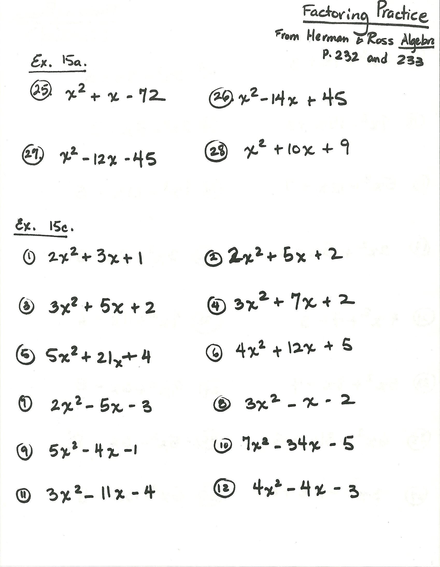Herman And Ross Factoring Practice1