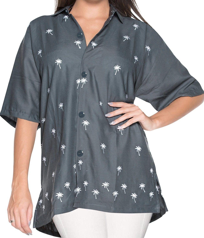 de9c7bc2b8619 Hawaiian Shirt Blouses Relaxed Fit Women Button Down Short Sleeves ...