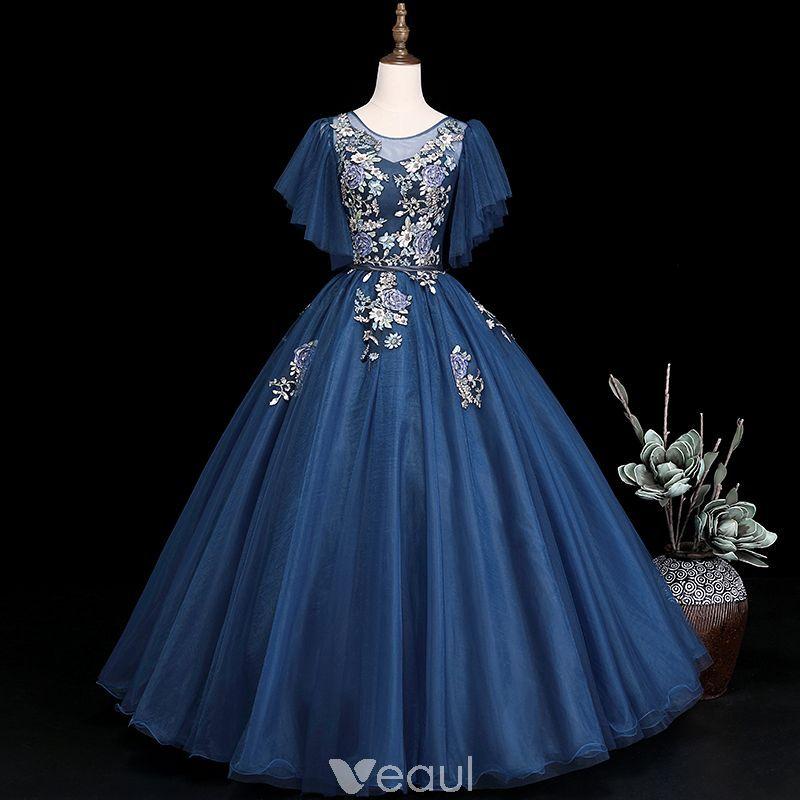 Elegant navy blue prom dresses 2019 ball gown scoop neck