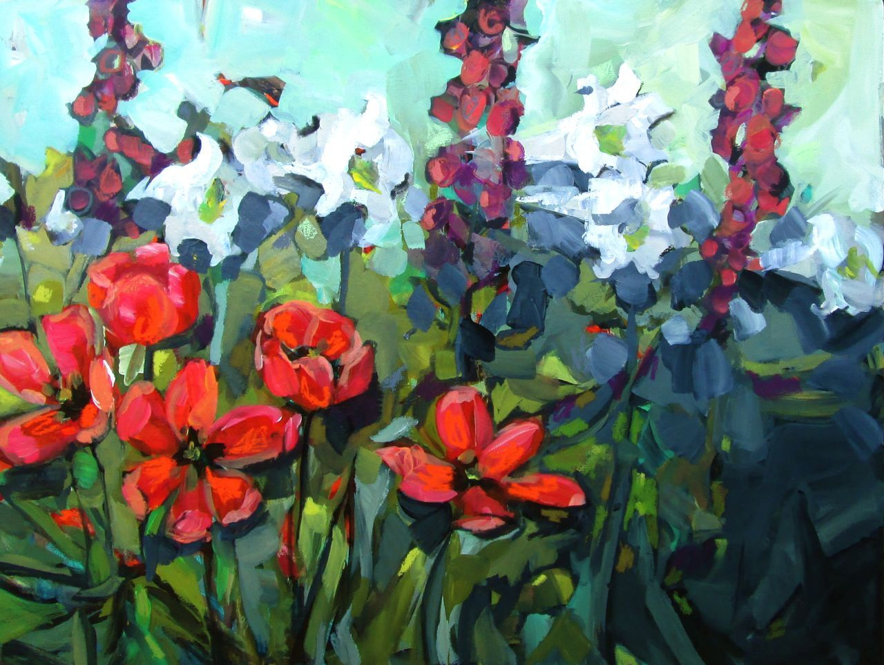 Jill Van Sickle 'Tulips, Lilies, Foxgloves'  painting, decor, floral, colorful, artwork