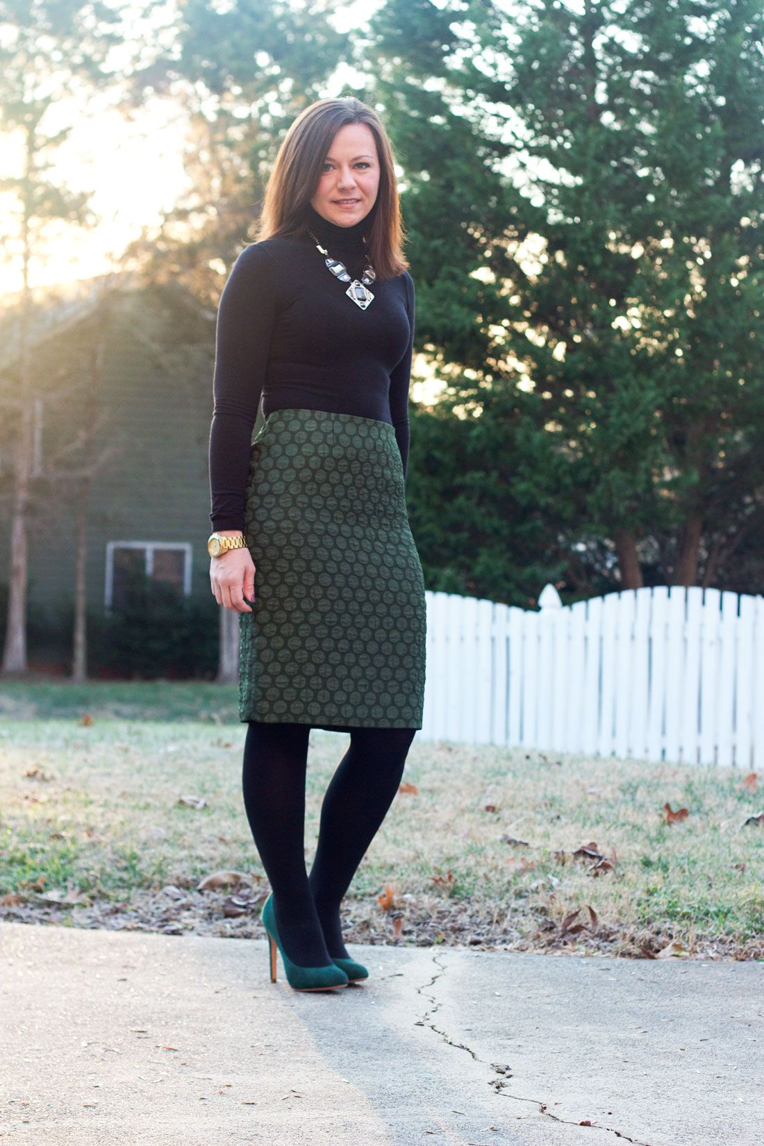 Winter work outfit: green pencil skirt, black turtleneck ...