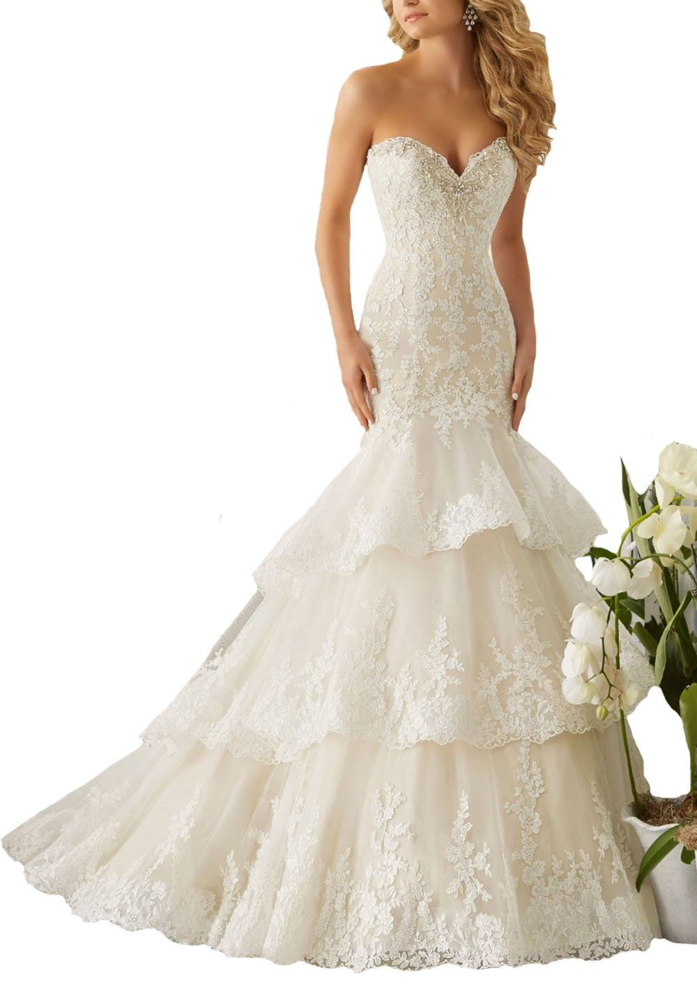 b6768c3a8f52 Firose Womens White Ivory Strapless Sweetheart Lace Mermaid Wedding Dresses  Bridal Gowns for Bride Ivory 10     To view further for this item