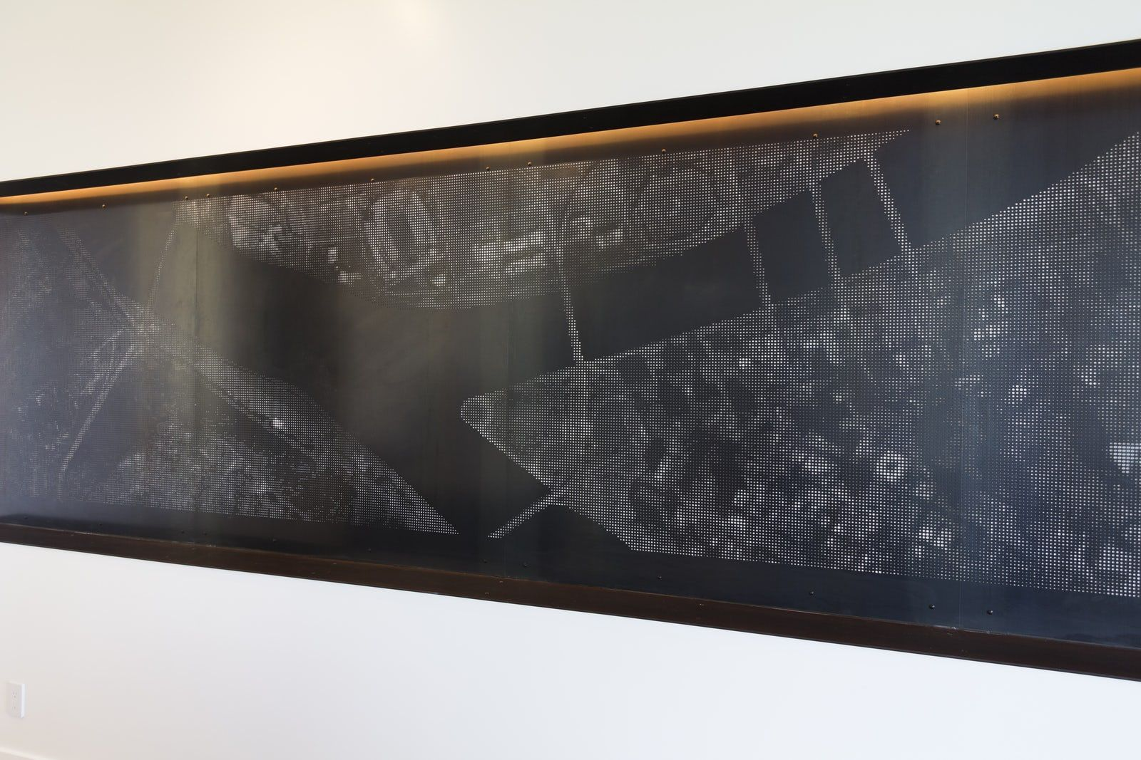 Image wall printed map in perforated metal environmental