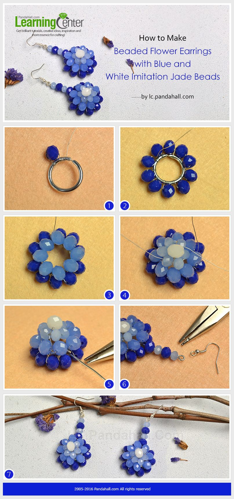 How To Make Beaded Flower Earrings With Blue And White Imitation Jade Beads From Lc Pandahall Com Beaded Earrings Tutorials Bead Jewellery Jewelry Patterns