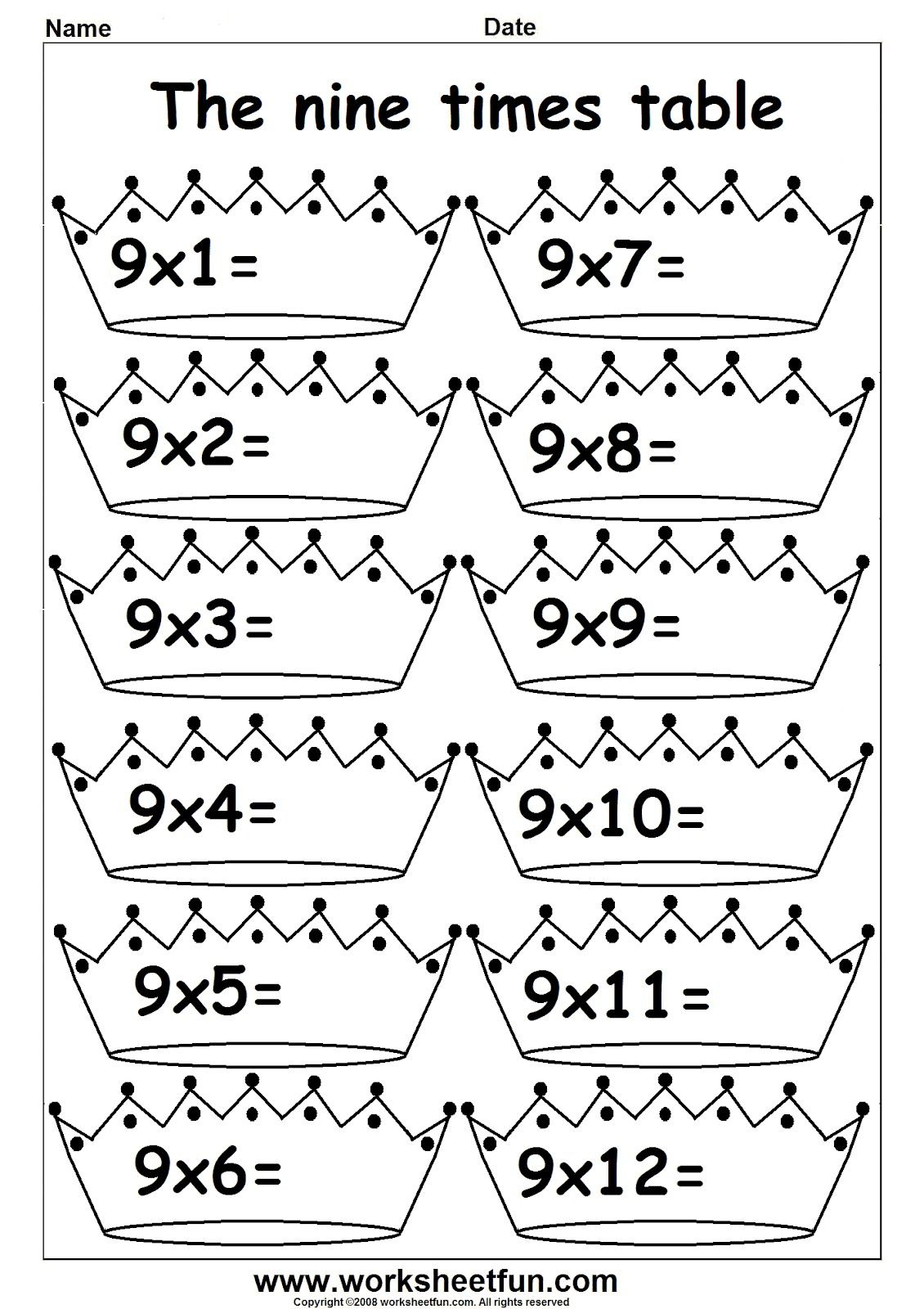 3rd Grade Math Multiplication Times Tables 1 S Printable