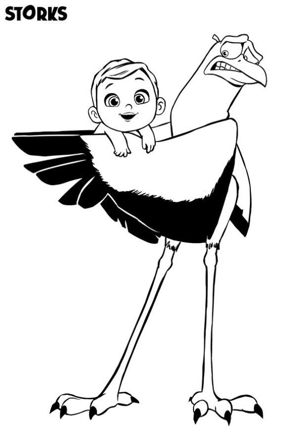 Coloring Page Storks Stork Baby Storks Movie Avengers Coloring Pages Disney Princess Coloring Pages