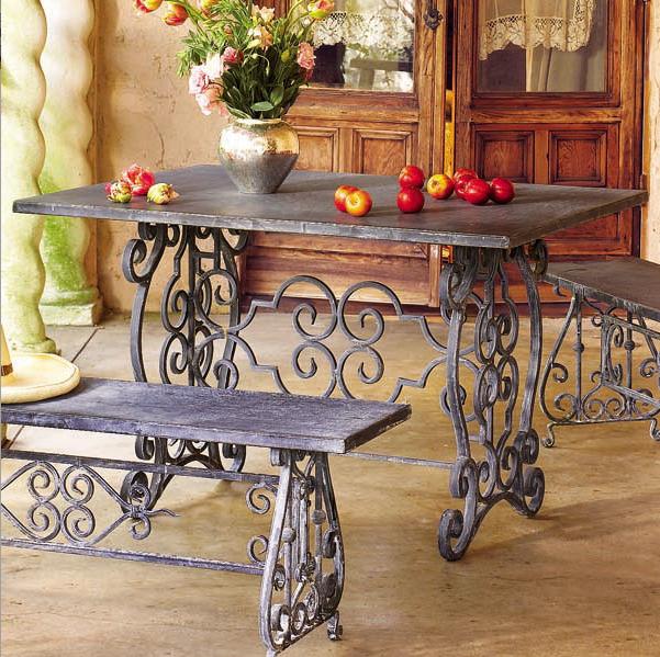 Mesa y asiento de forja para jardin old iron hierro for Muebles de jardin de hierro forjado