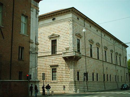 Palazzo dei Diamanti, Ferrara, Italy; designed in 1492 by Biagio Rossetti; built between 1493-1503.