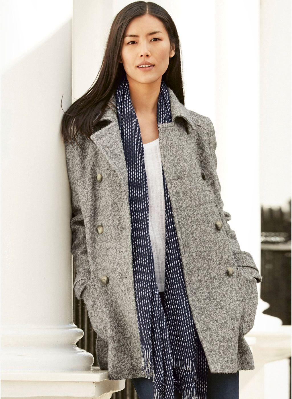 Next Grey Solid Boucle Peacoat | Women's Coat & Jacket | Pinterest ...