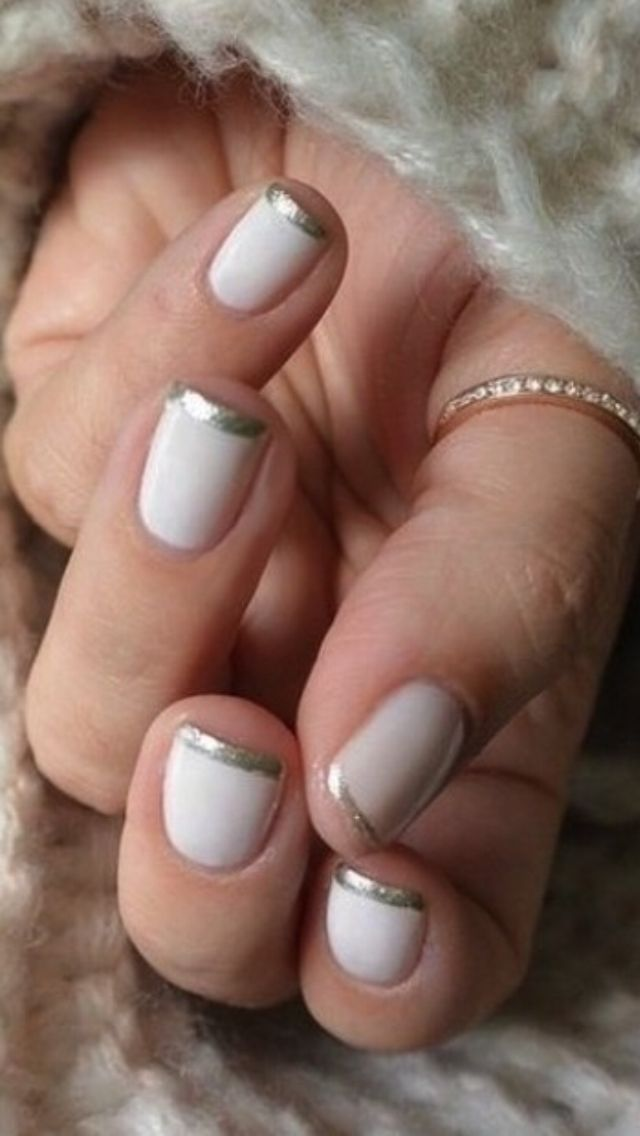 Pink or white with silver tip nails!   Beauty   Pinterest   Diseños ...