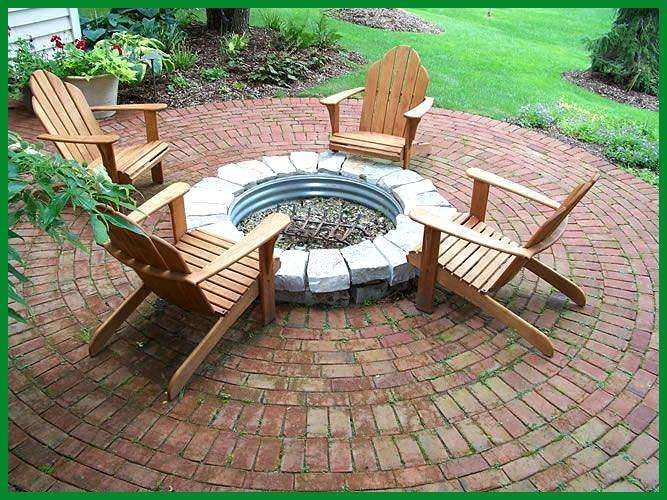 Love the brick patio but the fire pit needs to be brick or better stones Love the brick patio but the fire pit needs to be brick or better stones