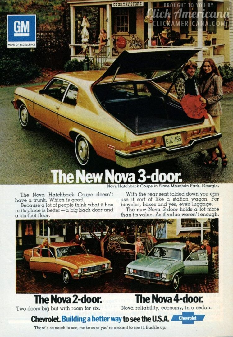 The New Chevy Nova Hatchbacks 1973 1970s Chevy Nova