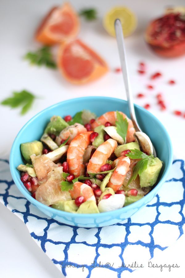 Salade crevettes pamplemousse grenade