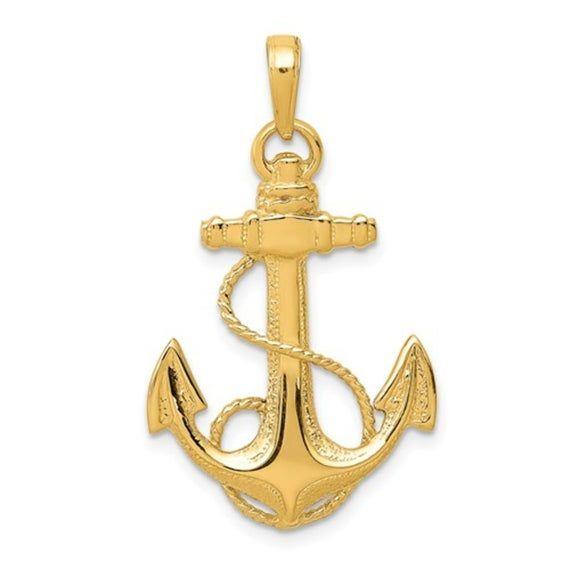14k Yellow Gold Two-tone Mariners Cross Pendant 25mm Length