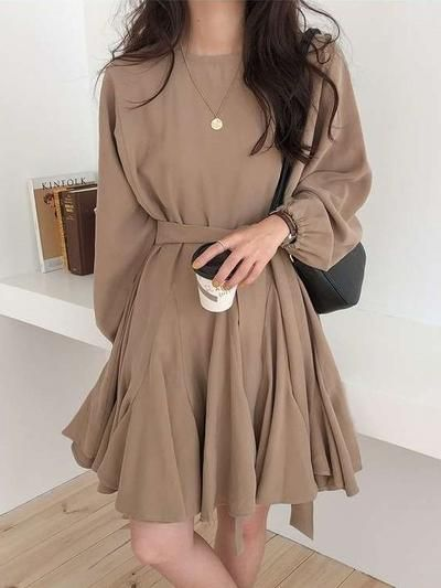 Photo of Pure Long sleeve Round neck Skater Dresses