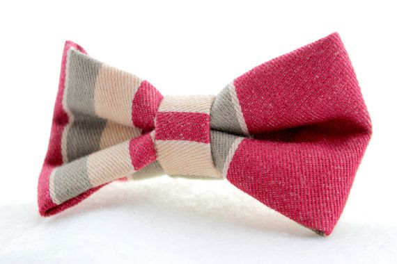 Burgundy and Tan Clip On Bow Tie by Scrapcycling on Etsy, $20.00