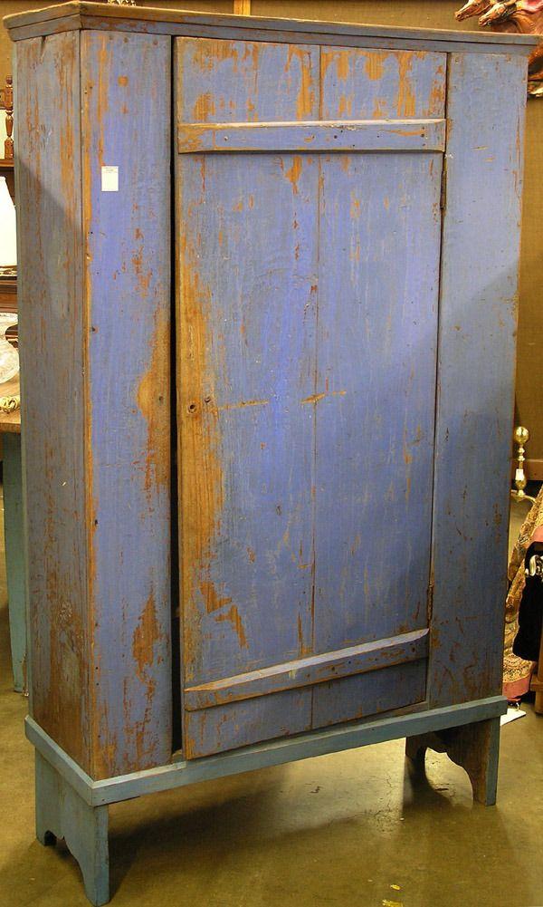 19th c. cupboard in blue paint