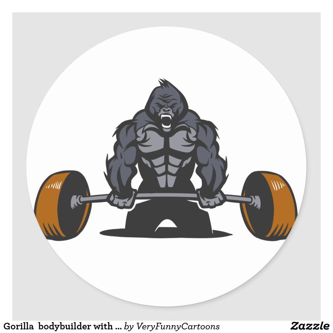 Gorilla Bodybuilder With A Barbell Classic Round Sticker Zazzle Com In 2021 Animal Cartoon Illustration Cartoon Train Cartoon Illustration