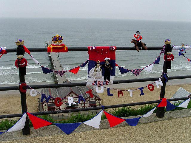 Knitted Jubilee congratulations by Nekoglyph, via Flickr