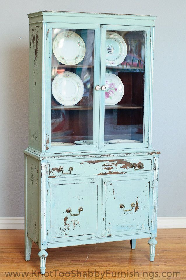 Small China Cabinet Chippy Rustic Teal Milk Paint