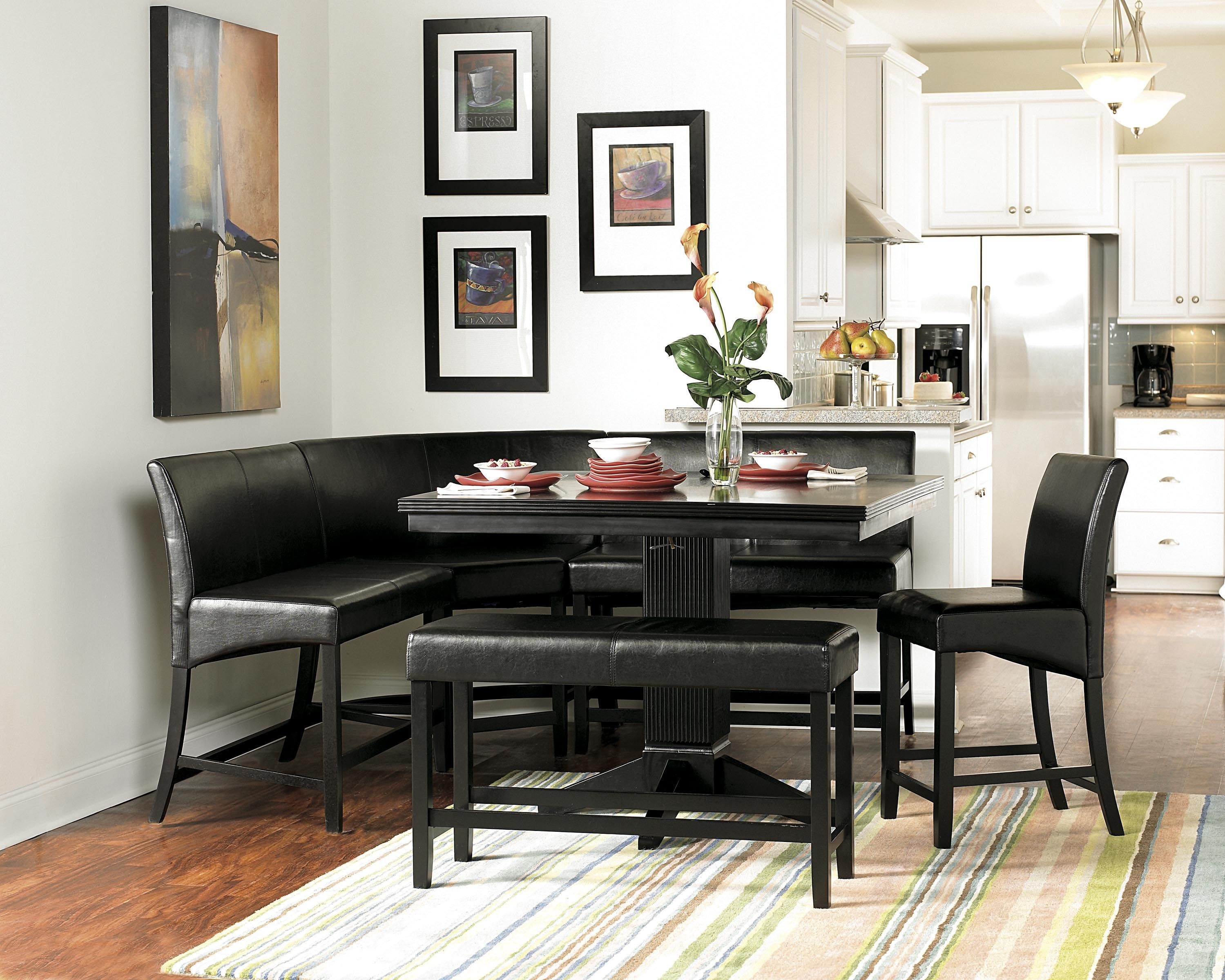 Homelegance Papario 7pc Counter Height Table Set In Black