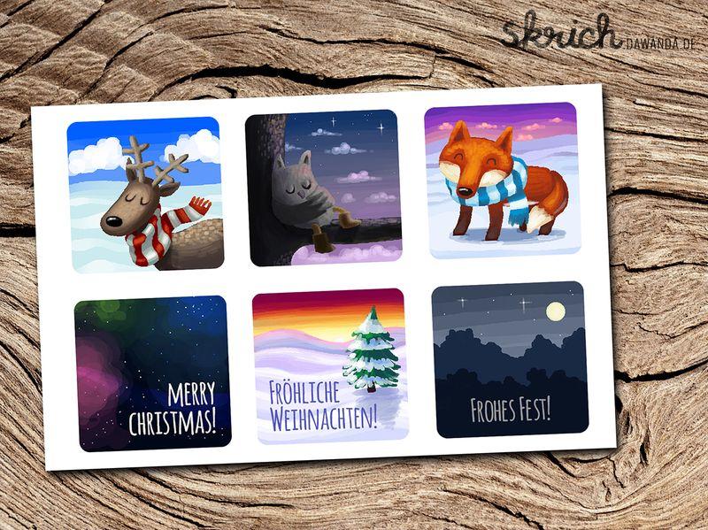 Stickersammlung+Wintertiere+von+skrich+auf+DaWanda.com