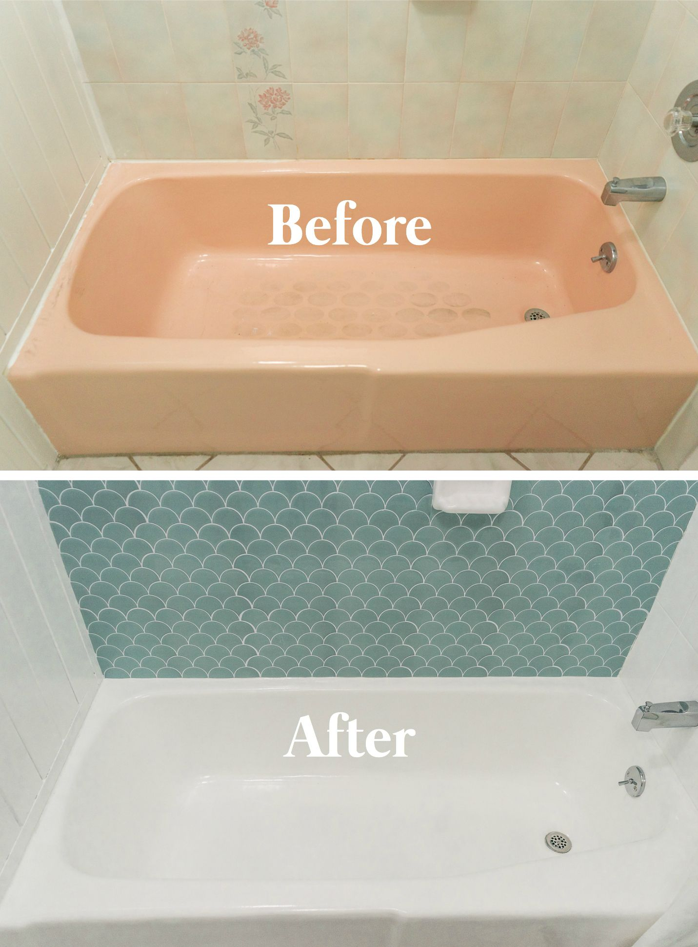 How To Paint A Bathtub And Shower For 50 In 2020 With Images Pink Bathtub Bathtub Makeover Bathtub