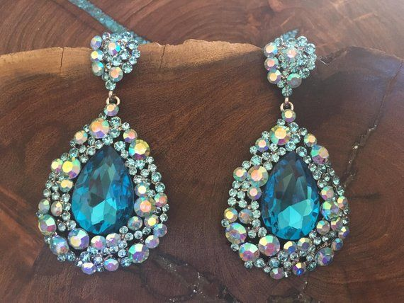 Teal Blue Rhinestone Earrings Aqua Prom Large Crystal Pageant