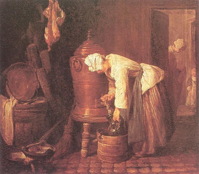 La mujer del dibujo del agua de una urna de 1733 - Jean Siméon Chardin