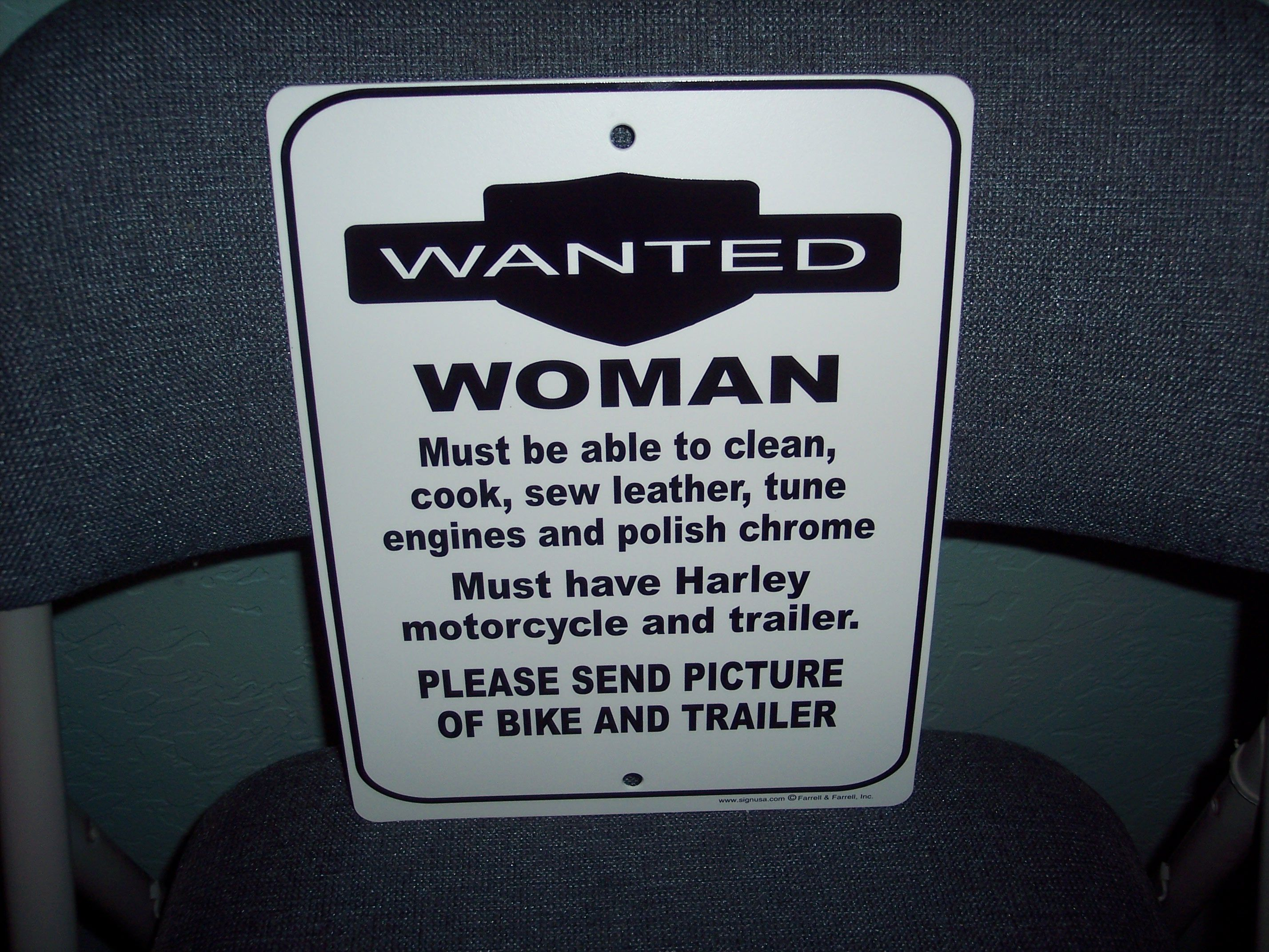 Harley Davidson Man Cave Signs : Wanted woman humor garage man cave restaurant harley