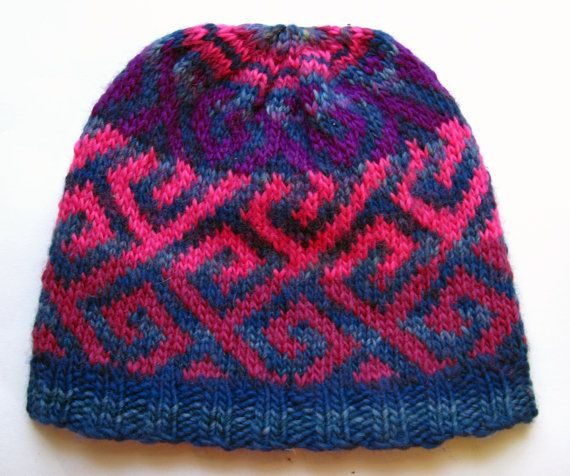 Knitting Patterns For Nordic Hats : Hand Knit Wool Nordic Pattern Fair Isle Hat Beanie by EacArt My Fair Isle k...