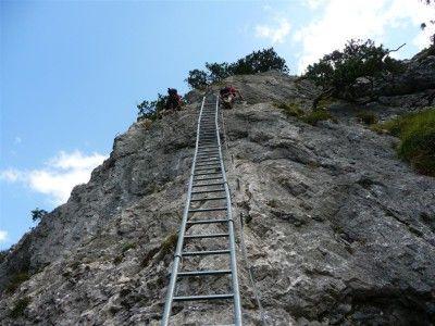 Klettersteig Tegelberg - die lange Einstiegsleiter