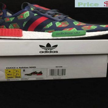 ca24e8b92cbc 2018 Official Fashion Popular Gucci X Adidas NMD R1 Deep Blue Green Red  BA7258 sneaker