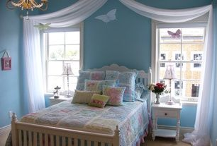 Traditional Kids Bedroom with Butterfly Decals Vinyl Wall Art (Set of 4), Coaster pepper nightstand, Chandelier, Carpet