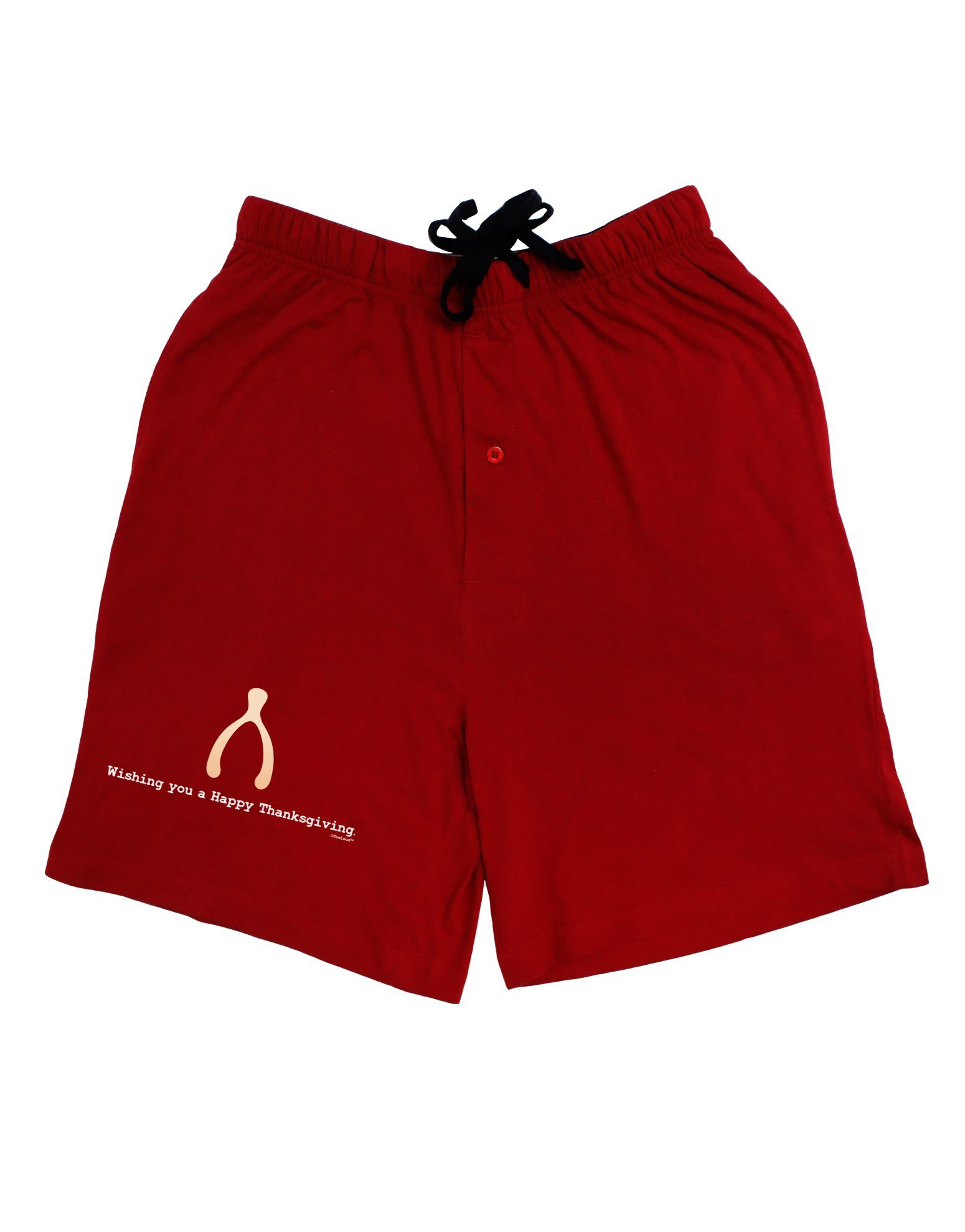 Wishing You a Happy Thanksgiving Wishbone Adult Lounge Shorts - Red- Medium