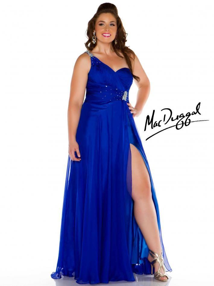 Royal Blue One Shoulder Plus Size Prom Dress I Love This Dress