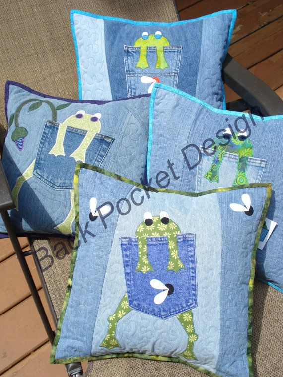 pattern for hungry frog quilted pillow made with upcycled recycled denim jeans eulen und. Black Bedroom Furniture Sets. Home Design Ideas