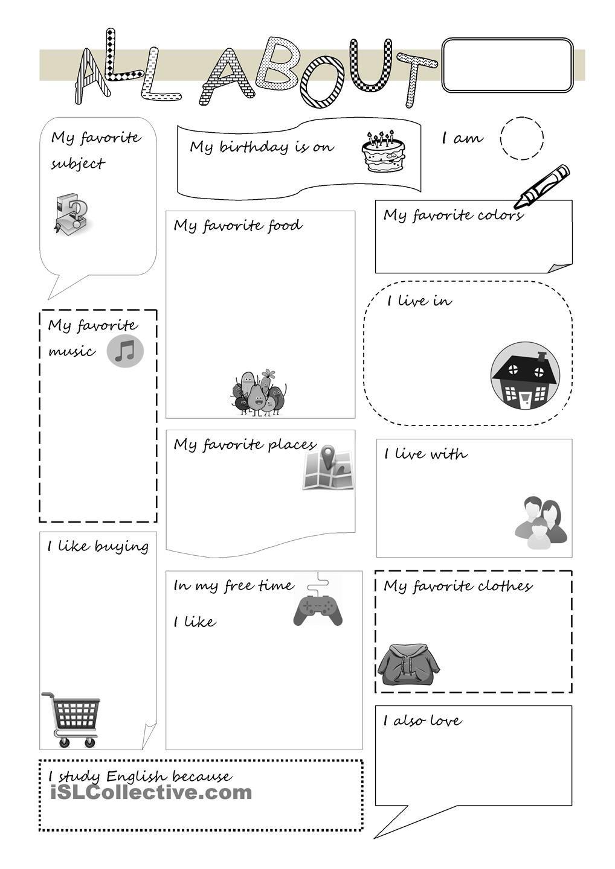 All about me … All about me worksheet, All about me