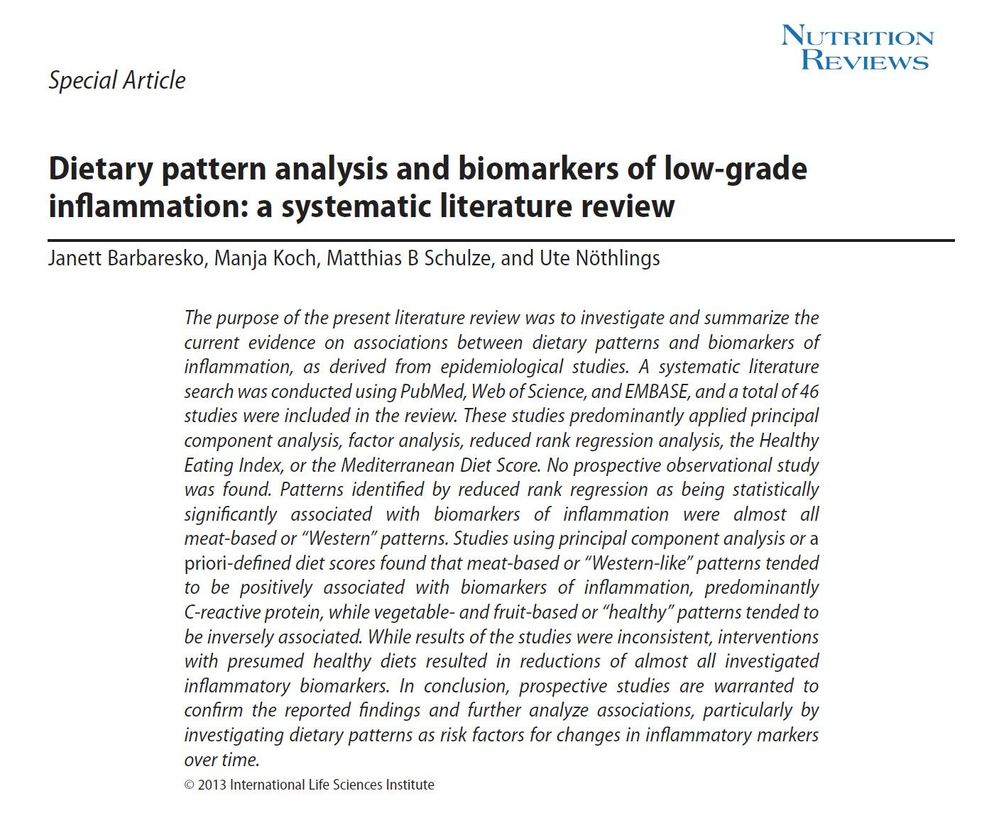 Dietary Pattern Analysis And Biomarkers Of Low Grade Inflammation