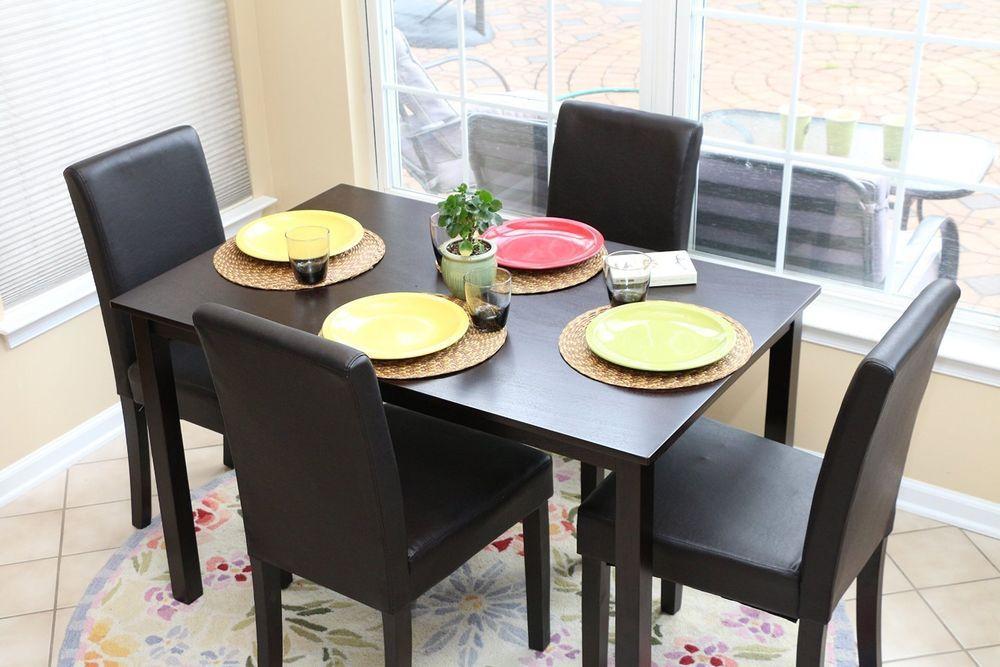 details about 5pc espresso dining room kitchen set table 4 black, Esstisch ideennn