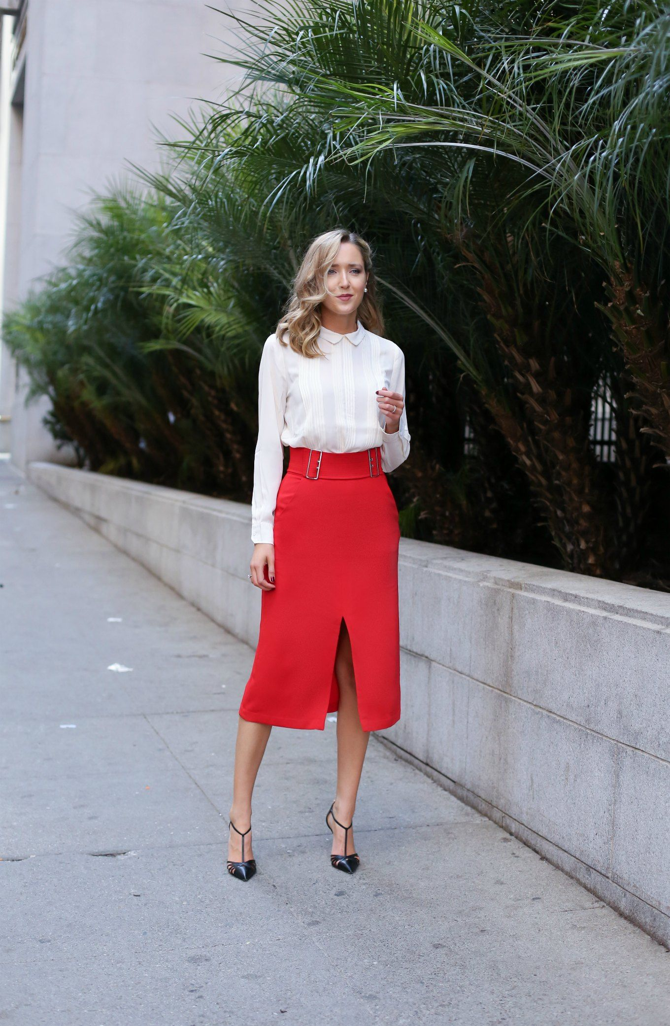 Red Midi Skirt, Collared Blouse (MEMORANDUM) | Pump, Skirts and ...