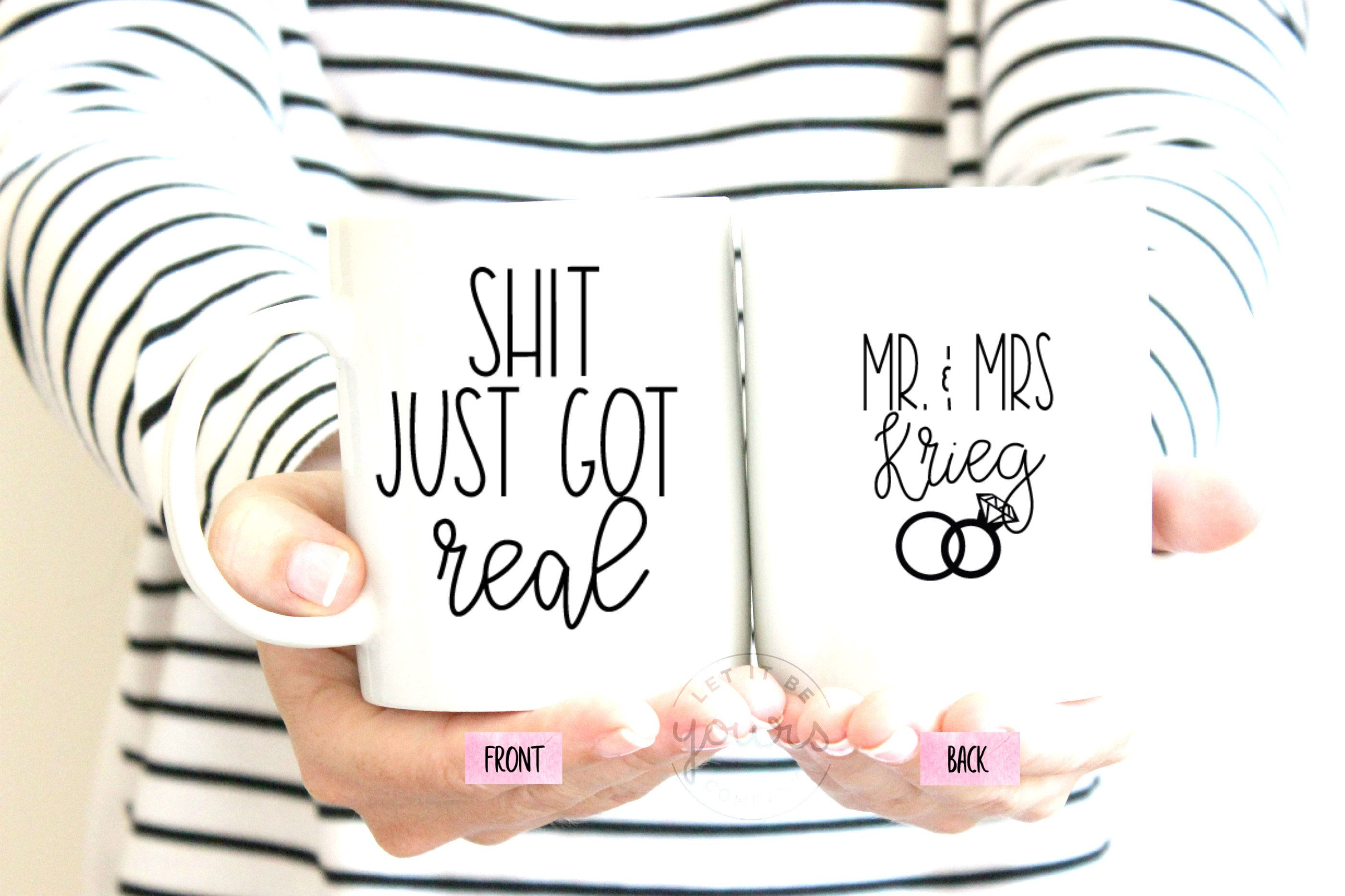 Wedding Gift Newlywed Gift His And Hers Mugs Funny Wedding Gift